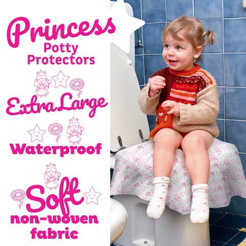 Cadily Princess Disposable Toilet Seat Covers for Kids & Adults: 20 X-Large, Waterproof, Portable, Individually Wrapped Toilet Seat Cover That Completely Covers Any Toilet