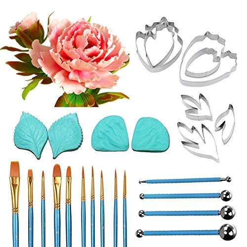 Peony Leaf and Flower Tool Kit Stainless Steel Peony Petal Cutter Set Fondant Flower Silicone Veining Molds Cake Modeling Tool Set and Fondant Decorating Brushes Set Petal Sugar Flower Tool