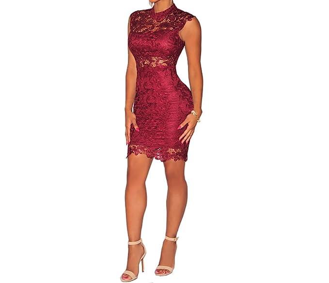dddfc8c9ae3c8 Vestidos De Mujer Sexys Pegados Al Cuerpo Color Vino Ropa De Moda para  Fiesta y Noche Elegante Casuales Encaje Rojos VE009 at Amazon Women s  Clothing store