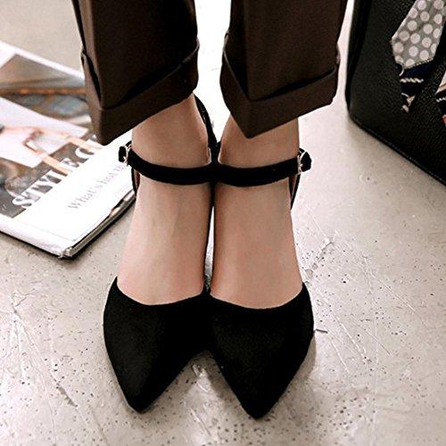 RAZAMAZA Femmes Bout Pointu Escarpins Chaussures Chunky Noir IcxN52mQ