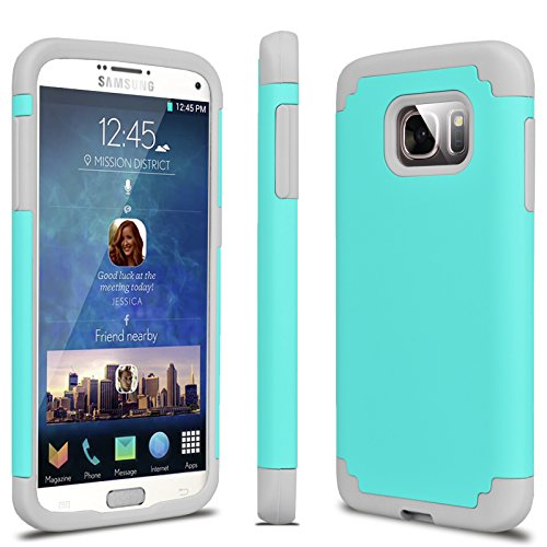 Tekcoo Galaxy S7 Case, [Tbaron Series] [Turquoise/Grey] Shock Absorbing Hybrid Rubber Plastic Impact Defender Rugged Slim Hard Case Cover Shell for Samsung Galaxy S7 S VII G930 GS7 All Carriers