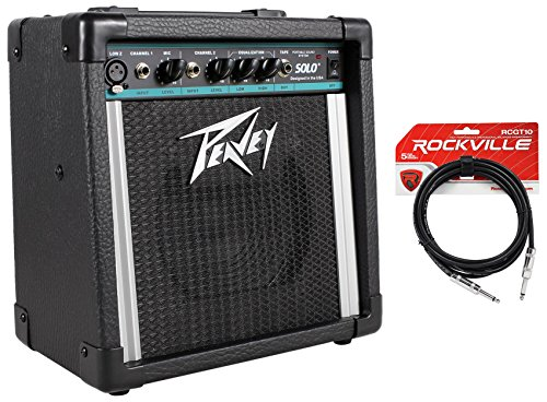 Package: Peavey Solo Portable PA Battery or AC 2 Channel Powered PA Sound System + Rockville RCGT10B 10' Nickel-Plated 1/4'' TS to 1/4'' TS Guitar / Instrument Cable - Black