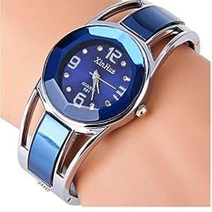 ELEOPTION Bracelet Design Quartz Watch with Rhinestone Dial Stainless Steel Band Free women's Watch Box (XINHUA-Jewelry Blue)