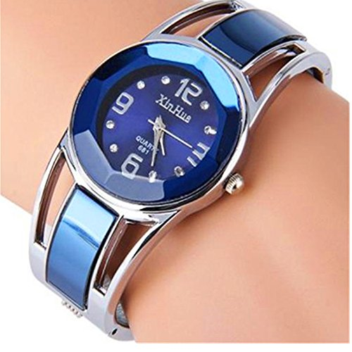 ELEOPTION Women's Bangle Watch Bracelet Design Quartz Watch with Rhinestone Round Dial Stainless Steel Band Wrist Watches Free Women's Watch Box (XINHUA-Jewelry Blue) from ELEOPTION