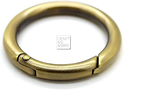 CRAFTMEmore Large O Ring Spring Opening Purse Making Snap Trigger Clip Inside 2 Inches Pack of 2 Gold