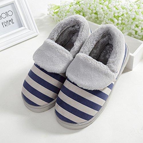 Y-Hui maschio pantofole di cotone pantofole amanti Home caldo inverno piscina antiscivolo fondo spesso Anti-Skid pantofole in inverno,40-41 (Fit per 39-40 piedi),Navy Blue (Quan Bao)