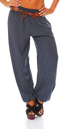 malito Bombacho con Cinturón Boyfriend Aladin Harem Pantalón Sudadera Baggy Yoga 7177 Mujer Talla Ún...