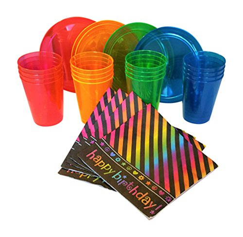 Neon Party Supplies Pack - Happy Birthday - Dessert Plates, Cups & Napkins for 16 Guests