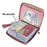 SafeCard 40 Card Solts Women's Credit Card Case Wallet 2 ID Window and Zipper Card Holder (40 Card Pink)