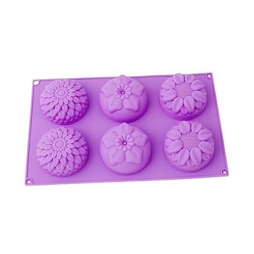 GCCI 6 agujeros de pastel de jabón casero molde de flores de ...