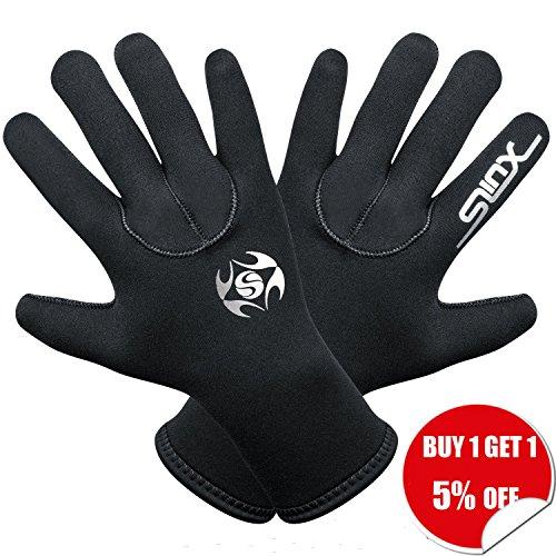 Diving Gloves Neoprene,3mm SCR Durable and Flexible Thermal Materials for Snorkeling Swimming Surfing Sailing Kayaking (Neoprene Full Finger Gloves)