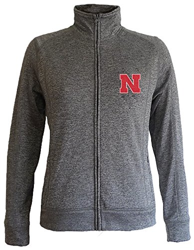 Nebraska Cornhuskers Women's Slim Full Zip Jacket - S - Charcoal (Nebraska Fan)