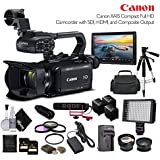 Canon XA15 Compact Full HD Camcorder 2217C002 With 2-64GB Cards, 2 Extra Batteries and Charger, LED Light, Case, Tripod, Rode VM-GO Mic, Screen, and Sony MDR-7506 Headphones - Professional Bundle