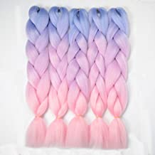 "VCKOVCKO Ombre Braiding Hair Kanekalon Jumbo Braids Hair Extension 3 Tone Pink Jumbo Braiding For Twist Braiding 24"",5 Bundles/Lot,Blue-Light purple-Pink"