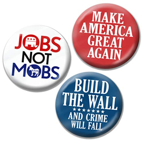 Elephant Pin Republican (3-Pack Buttons - Donald Trump 2020 Build the Wall and Crime Will Fall, MAGA, Mobs not Jobs - 2.25 Inches Design 3541)