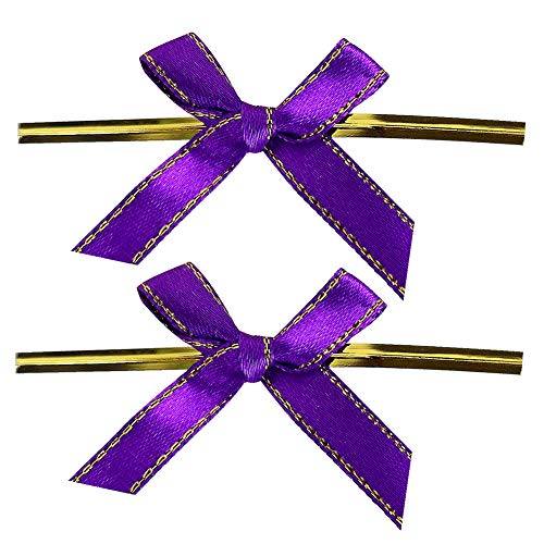 LEFV Twist Tie Bows, 250pcs Ribbon Bowknot for Bakery Cookies Candies Dessert Popcorn Wedding Party Favors Cello Bag Wraping, Purple