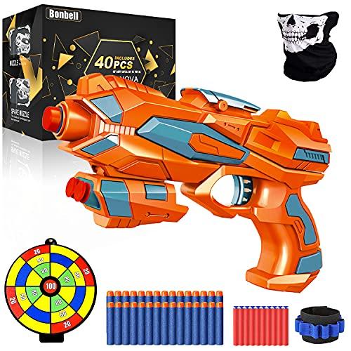 Kinder Pistole für Nerf Gun Spiel, Softpfeilen Blaster Pistole mit 40 Schaumstoff Munition, Schutzbrille +Gesichtmaske, Spielzeug Waffe mit Kugel, Schießspiel Geschenk für Jungs Mädchen ab 6 Jahre