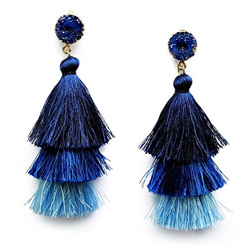 Blue Sapphire 3 Layer Tiered Thread Tassel Earrings Gadational Blue Tassel Drop Earrings for Women Girls with Druzy Studs