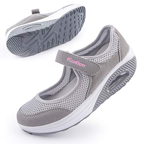 Women's Comfortable Working Sneaker Nurse Shoes Non-Slip Adjustable Breathable Walking Fitness Casual Nursing Shape Shoes Mary Jane Sneaker 42 Grey
