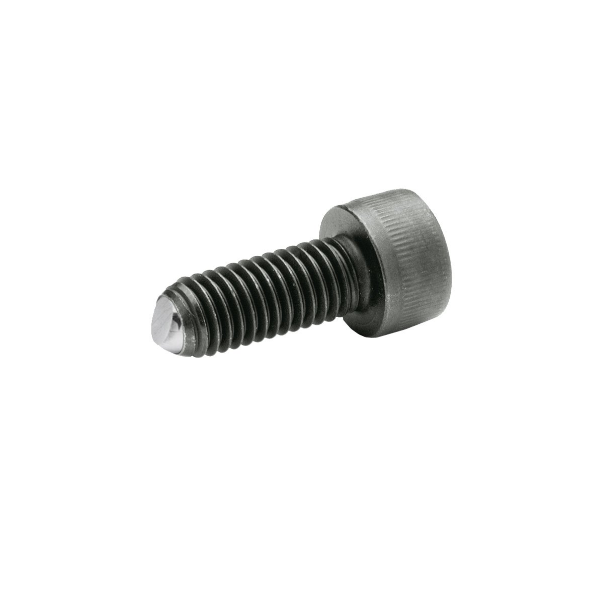 J.W. Winco 10N60P47/V GN606 Socket Head Cap Screw with Flat Ball, Safety Twist Feature, M10 x 60 mm Thread Length, Alloy Steel, Black Oxide Finish