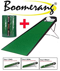 Boomerang Putting Pro - Best Indoor Golf Putting Aid + 3m Troon Dual Speed Putting Mat