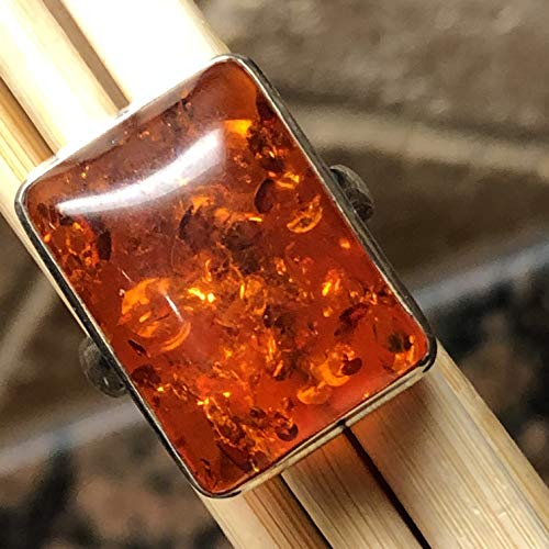 Beautiful Baltic Amber 925 Solid Sterling Silver Solitaire Ring sz 7.75