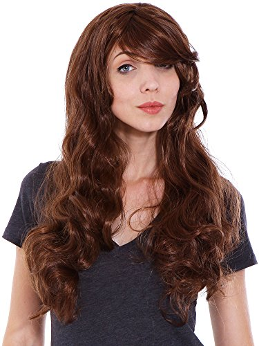 Simplicity Women Curly Cosplay Costume Wigs with Free Wig Cap Light Brown ()