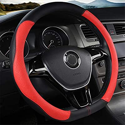 D Type Steering Wheel Cover,Microfiber Leather Breathable Anti-Slip Flat Bottom Shaped Steering Wheel Cover Steering Accessories for Women Men 15inch,Red: Automotive