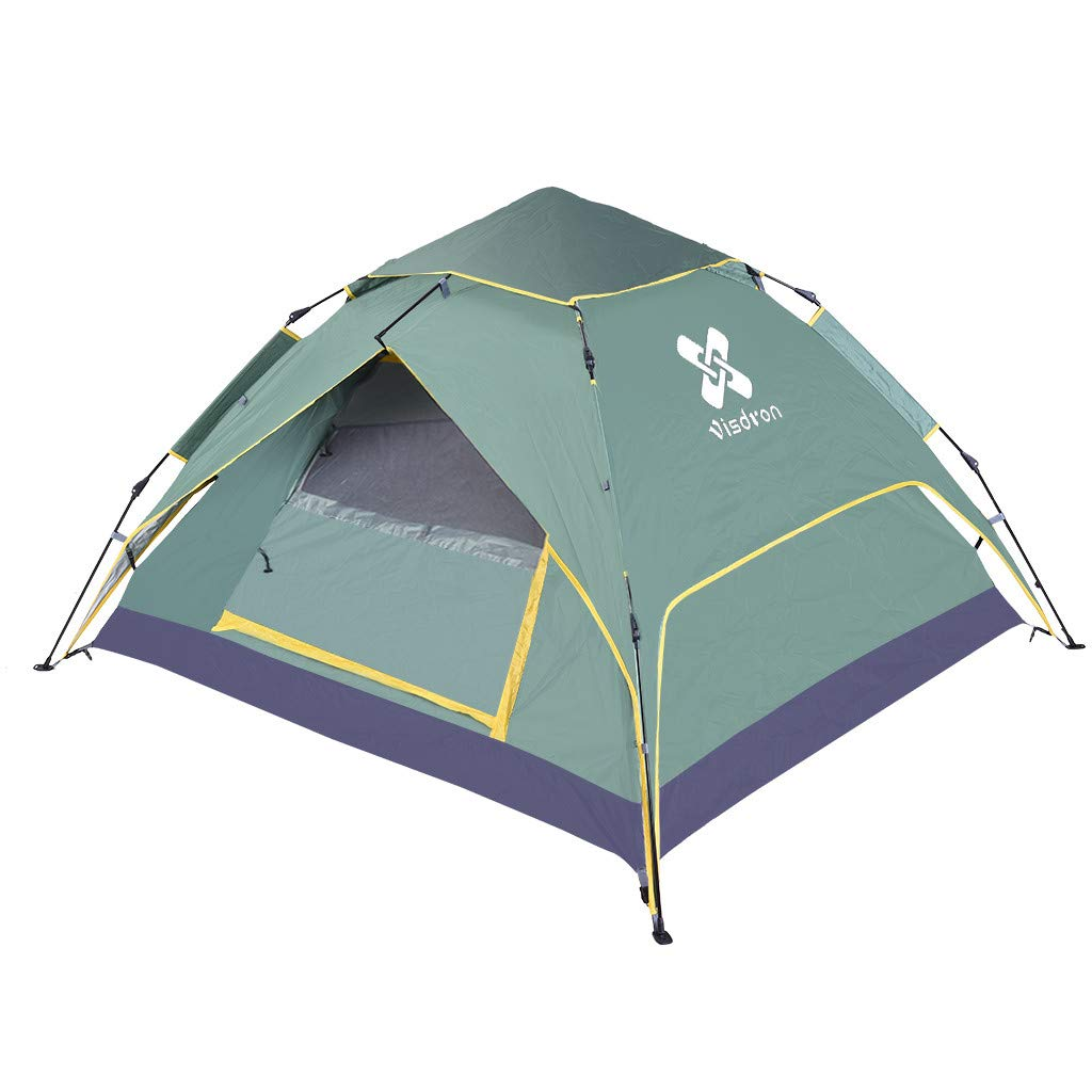 2-4 Person Camping Tent | Waterproof Windbreak Automatic Hydraulic Pop Up Backpacking Tent | PU Protection Easy Set Up Sun Shelter Portable Tent Hiking W/Carry Bag (1PC Army Green Camping Tent) by Leadmall
