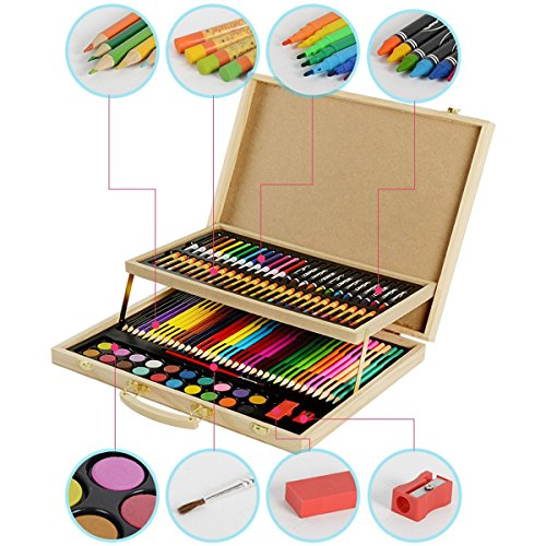 CONDA 108 piece Wood Art set for Sketching and Drawing in Wooden Case - The Fine Touch Easel Box Set