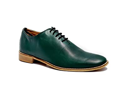 Wolven Mans Gary One Piece Green Leather Shoes With Sheet Sole Uk