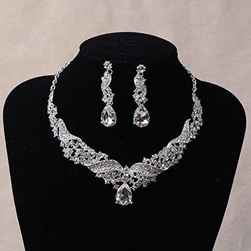 Missgrace Women Wedding Rhinestone Crystal Choker Necklace Earrings Jewelry ()