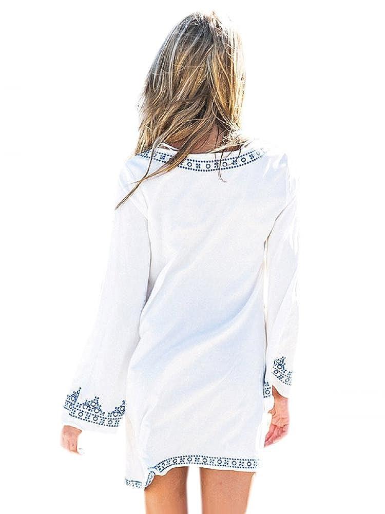 Lingswallow Women White Vintage Long Sleeve Ethnic Pattern Shift Maxi Dress