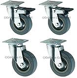 "Rubber Castor set 4"" (100mm), Rubber Wheel set"