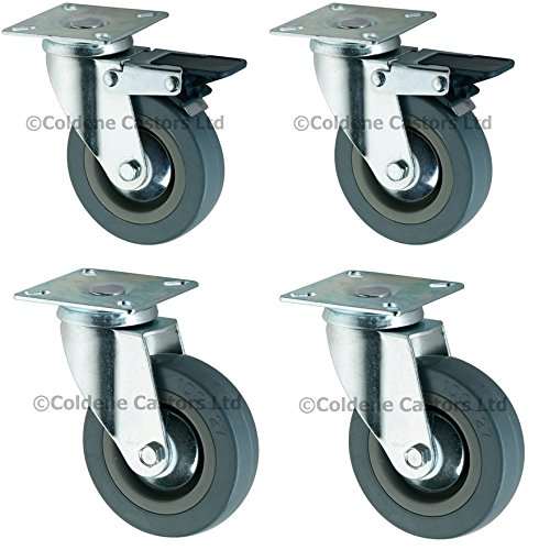 4 x RUBBER CASTORS/CASTERS WHEELS 50 mm Coldene Castors Ltd