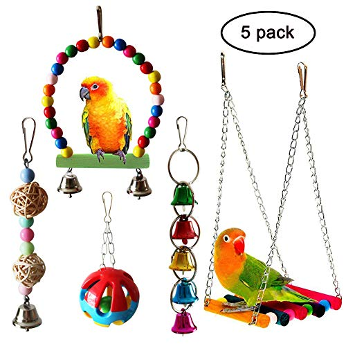 - QUMY 5pcs Bird Parrot Toys Hanging Bell Pet Bird Cage Hammock Swing Toy Wooden Hanging Perch Toy for Small Parakeets Cockatiels, Conures, Macaws, Parrots, Love Birds, Finches (A)