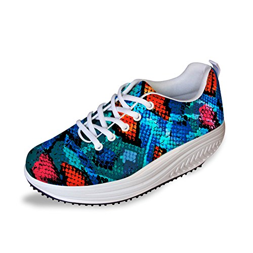 Multi Fashion Women's U Wedges DESIGNS Walking Shoes B5 Platform FOR Stripe Print qTHXv4