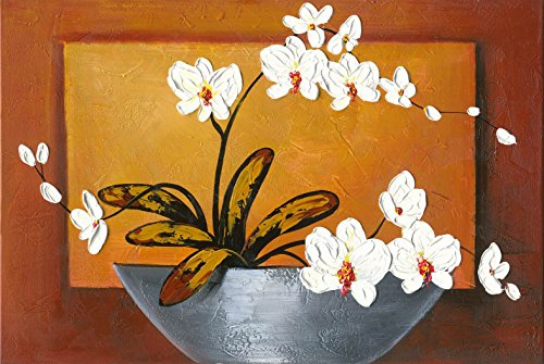 Wieco Art - Orchid Floral Oil Paintings on Canvas Wall Art Ready to Hang for Living Room Bedroom Home Decorations Modern 100% Hand Painted Modern Stretched and Framed Abstract Pretty Flower Art (Acrylic Floral Paintings)