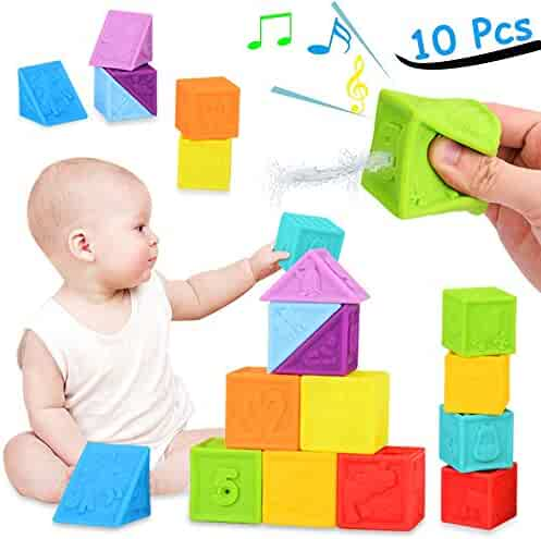 BLLKE Baby Blocks, Soft Building Blocks for Toddlers Stacking Blocks, Squeeze Teething Chewing Toys Educational Baby Bath Play with Shapes Animals Textures for 6 Months Baby Toys