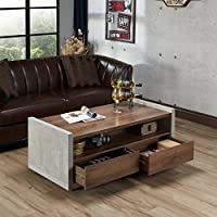 Furniture of America Kendelle Modern Industrial Concrete-like Coffee Table Brown Grey Finish, Brown Finish