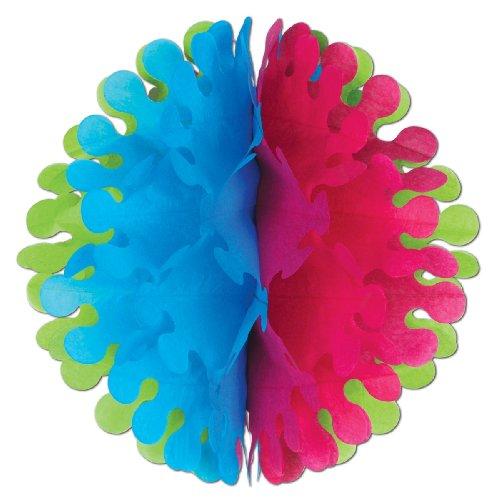 Beistle 1-Pack Tissue Flutter Ball, 14-Inch, Cerise/Lime Green/Turquoise