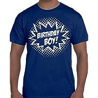 Custom Kingdom Mens Birthday Boy Superhero T-Shirt (X-Large, Royal Blue)
