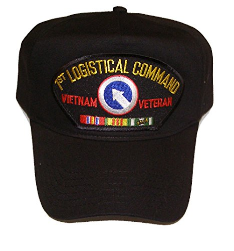 - 1ST LOGISTICAL COMMAND VIETNAM VETERAN HAT with ribbons and 1ST Log crest cap - BLACK - Veteran Owned Business