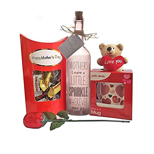 Mother's Day Gift Set with Mug and Teddy Bear, Chocolate Rose, Starlight Bottle and Toblerone Chocolates by Premier Life Store ()
