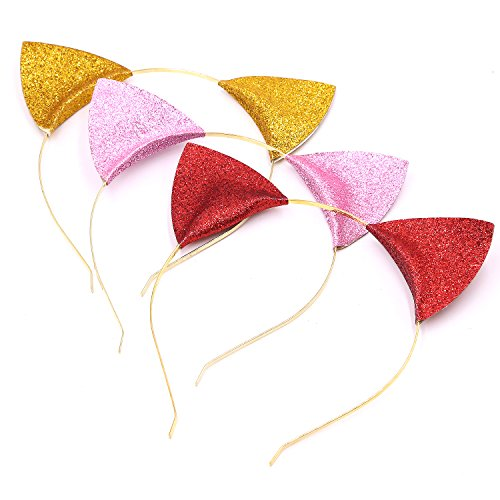 Halloween Cat Ears, Glitter Headbands Cute Hair Band for Parties and Proms Cosplay (Pink Red (Due Date Halloween)