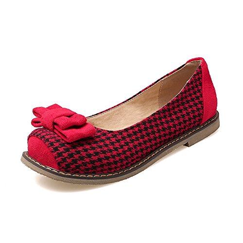 Balamasa Damene Assortert Farge Runde Tå Pull-on Uretan Flats-sko Røde