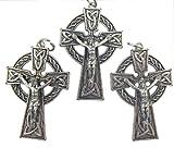 Lot of 3 Catholic Keepsake Gift Lead Free Silver Tone 2 Inch Irish Celtic Cross Crucifix Pendant Charm