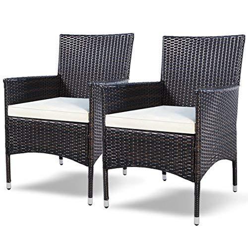 Tangkula 2 Pcs Patio Armchair Rattan Single Chair Set Outdoor Modern Wicker Rattan PE Furniture Sofa Set W/Cushions Brown … (Brown)