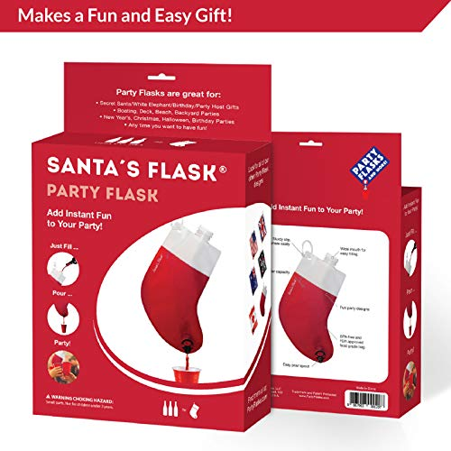 Party Flasks Santas Flask for Liquor, Wine, Drinks: Funny Gag Gifts for White