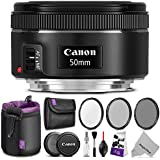 Canon EF 50mm f/1.8 STM Lens w/Essential Photo Bundle - Includes: Altura Photo UV-CPL-ND4, Neoprene Lens Pouch, Camera Cleaning Set